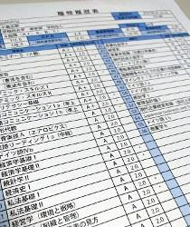 大学成績センターが企業に提供する履修履歴表のサンプル=東京都千代田区で、金秀蓮撮影