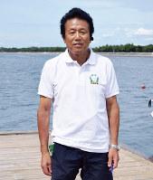 荒井哲治さん=大阪府高石市の府立漕艇センターで、竹内梓撮影