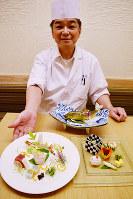美しく盛り付けられた造り(左)と前菜(右)、夏にお勧めのアユの姿焼き(奥)=奈良市の日本料理店「櫃屋(ひつや)」で、塩路佳子撮影