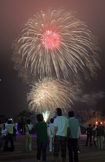Fireworks light up the skies of Tomioka, Fukushima Prefecture, on Aug. 11, 2017, at the finale of a summer festival held for the first time in seven years. (Mainichi)
