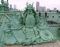 A statue of samurai armor is seen on the roof of the State Guest House, Akasaka Palace, in Tokyo in this image taken from a drone. (Mainichi)
