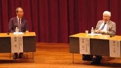 浜田宏一・内閣官房参与(右)と高橋亘・元日銀金融研究所長