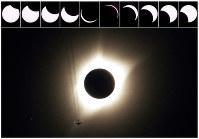 8月21日、米本土の広い範囲で太陽が月と重なって見えなくなる皆既日食が起き、トランプ大統領を含め多くの市民が各地で観察の時を過ごした。米本土で皆既日食が観測されるのは1979年以来で、皆既日食が大陸を西海岸から東海岸に横断するのは1918年以来99年ぶりとなった。写真は日食の進展を示す10枚の写真とワイオミング州ガーンジーの皆既日食の写真、21日撮影(2017年 ロイター/Rick Wilking )
