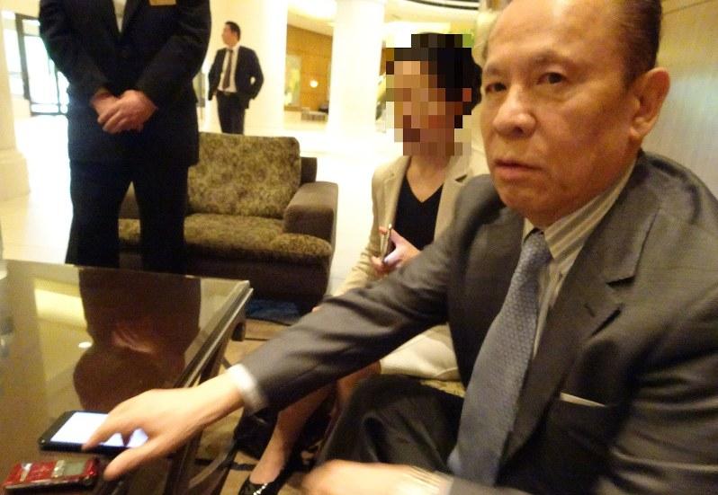 ユニバーサルエンターテインメントのオーナー創業者で、会長として実権を握っていた岡田和生氏=2017年6月29日午前10時撮影 ※画像を一部加工しています