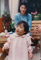 Princess Mako walks about at her residence in Minato Ward, Tokyo, in October 1992, shortly before her first birthday, as her mother Princess Kiko looks on, in October 1992. (Photo courtesy of the Imperial Household Agency)