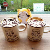 A cafe latte decorated with Rascal from the anime series