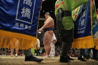 遠藤との一番に臨む朝乃山=東京・両国国技館で2017年9月11日、和田大典撮影