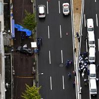 射殺事件があった現場付近=神戸市長田区で2017年9月12日午前11時27分、本社ヘリから