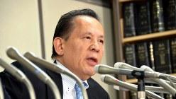 パチスロ機メーカー最大手、ユニバーサルエンターテインメントの岡田和生・前会長=東京・霞が関の司法記者クラブで2017年9月14日