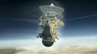 土星大気に突入する無人探査機カッシーニの想像図=米航空宇宙局(NASA)提供