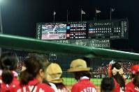 【広島―DeNA】マツダスタジアムのスクリーンに映し出される阪神―巨人戦=2017年9月14日、大西岳彦撮影