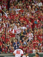 【広島―DeNA】四回裏広島無死、バティスタが本塁打を放ち、盛り上がるスタンド=マツダスタジアムで2017年9月14日、山田尚弘撮影