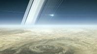 土星の大気に突入するカッシーニの想像図=NASA提供
