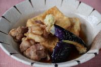 豆腐と鶏肉、ナスの揚げ出し