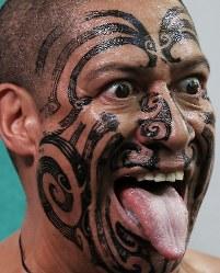 ラグビーW杯大会2年前イベントで披露されるニュージーランドのマオリ族の伝統舞踊「ハカ」=東京都千代田区で2017年9月18日午後1時11分、小出洋平撮影