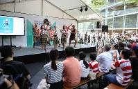 ラグビーW杯大会2年前イベントで披露されるニュージーランドのマオリ族の伝統舞踊「ハカ」=東京都千代田区で2017年9月18日午後1時2分、小出洋平撮影