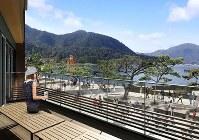 店舗のイメージ図。2階バルコニーからは、正面左手に厳島神社の大鳥居を望める=スターバックスコーヒージャパン提供