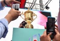 ラグビーW杯日本大会開幕まで2年となり一般公開された優勝トロフィー「ウェブ・エリス・カップ」=東京都渋谷区で2017年9月20日、宮間俊樹撮影