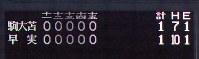 2006年夏の甲子園決勝で、引き分け再試合となった早稲田実と駒大苫小牧の試合のスコアボード=小関勉撮影