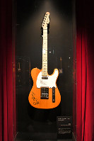 A guitar belonging to a member of The Rolling Stones is seen at the