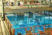 高浜原発4号機の使用済み燃料プールへクレーンで移送されるMOX燃料=福井県高浜町で(代表撮影)