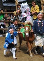 自分の背より高い馬と駆ける小若衆に、馬場を囲む柵に陣取った見物客ら「がんばれ、がんばれ」の掛け声がかかる=愛知県高浜市の春日神社で2017年9月30日、片山喜久哉撮影