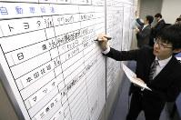 ホワイトボードに書き込まれる各社の春闘回答状況=東京都中央区の金属労協で2017年3月15日