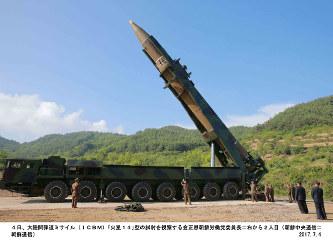 大陸間弾道ミサイル(ICBM)「火星14」型の試射を視察する金正恩・朝鮮労働党委員長(右から2人目)=2017年7月4日(朝鮮中央通信=朝鮮通信)