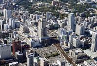 新幹線ホーム位置で「地下案」も検討されることになったJR札幌駅周辺=本社機「希望」から竹内幹撮影