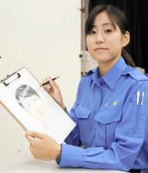似顔絵を描く今村公子さん=神奈川県警本部で