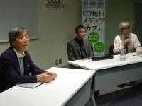 音楽と脳の関係を語る(左から)早野さん、宮前さん、酒井さん=毎日ホールで