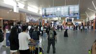 事件が起きたクアラルンプール国際空港第2ターミナルの出発ロビー=平野光芳撮影