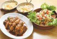 (左手前から時計回りに)ロールビーフの煮込み、ポテトグラタン、キヌアのサラダ