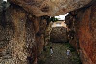 積み重ねられた石の巨大さに驚く蛇塚古墳。石の隙間から周囲の住宅の2階部分が見えた=京都市右京区で、小松雄介撮影