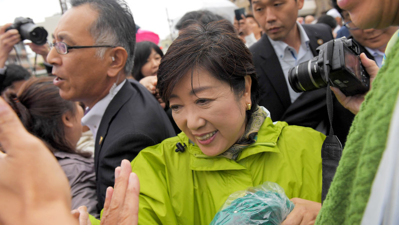 希望の党の小池百合子代表=佐賀県唐津市で2017年10月16日、津村豊和撮影