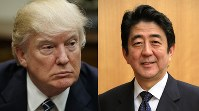 US President Donald Trump (left, AP) and Japanese Prime Minister Shinzo Abe (Mainichi).