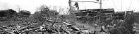 模擬原爆1発による空襲で、広範囲に惨たんたる被害をうけた街=大阪市東住吉区田辺本町(当時)4丁目で、1945(昭和20)年7月26日撮影