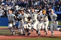 【日大三-佼成学園】7年ぶりの優勝を決め、三塁側応援スタンドへ駆け出す日大三の選手たち=新宿区の神宮球場で