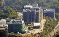 The construction site of a Kake Educational Institution veterinary school is seen from a Mainichi Shimbun helicopter in Imabari, Ehime Prefecture, on Nov. 10, 2017. (Mainichi)