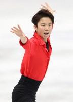 男子フリーで演技する友野一希=大阪市中央体育館で2017年11月11日午後8時45分、佐々木順一撮影