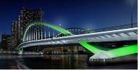 新たにライトアップされる築地大橋のイメージ=都提供