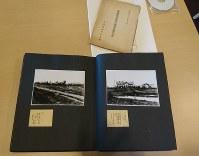 満蒙開拓平和記念館が保存している下伊那郡町村長会の満州農業移民地視察記念帳(手前)=阿智村の同館で