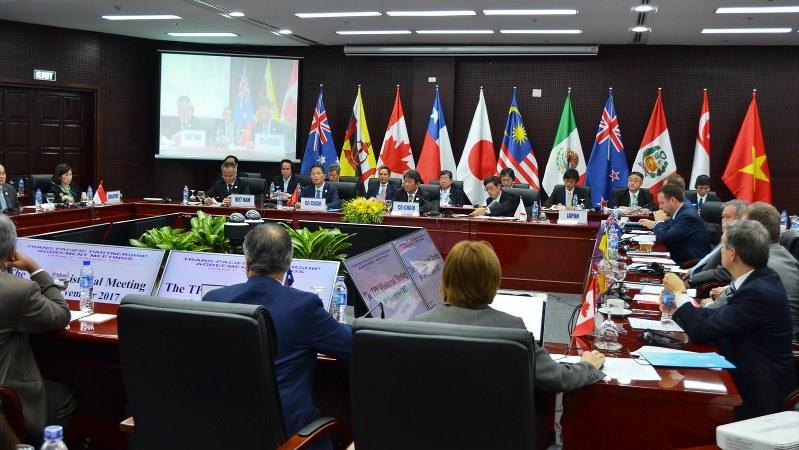 ベトナム中部ダナンで断続的に開かれたTPP11の閣僚会合。大筋合意に達したが、多くのもやもやを残した=2017年11月9日午前、代表撮影