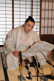 大関昇進への意気込みを語る安馬=福岡県太宰府市で2008年10月27日午前9時0分、山下恭二撮影