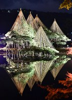 Trees are colorfully lit up at Kenrokuen garden in the city of Kanazawa on Nov. 16, 2017. (Mainichi)