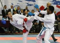男子組手75キロ級、日本の新エースとして期待される西村拳。奇抜で派手な蹴り技に注目=空手道マガジンJKFan提供