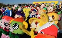 開会式に勢ぞろいした各地のキャラクター=羽生市三田ケ谷の羽生水郷公園で2017年11月25日午前9時40分、中山信撮影