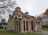 世界遺産に登録されているセルビア正教会のグラチャニツァ修道院=コソボの首都プリシュティナ近郊で2017年11月15日、松井聡撮影