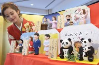 「こんにちは赤ちゃん雛」(手前)や「レットイットビーご婚約雛」(前列中央)など、今年の世相を反映させた5種類の変わり雛=東京都台東区で2017年11月28日午前11時15分、渡部直樹撮影
