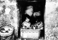 立派な墓は格好の退避所だった。前線から50メートルの亀甲墓に幼児2人がいた=1945年4月23日撮影